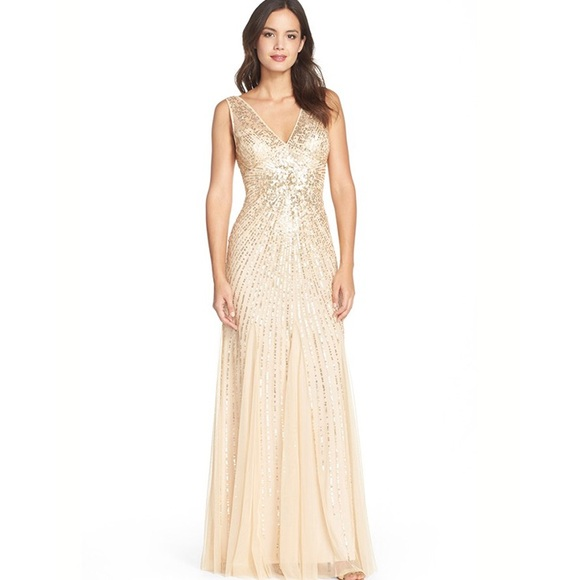 Adrianna Papell Dresses | Gold Vneck Beaded Mermaid Godet Gown ...