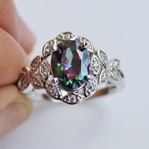 Jewelry - Sale 💋 18k white gold ring mystical topaz new