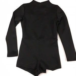 Black Open-Back Long-Sleeved Playsuit