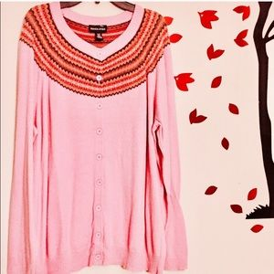 Sweaters - Neckline style cardigan-pink