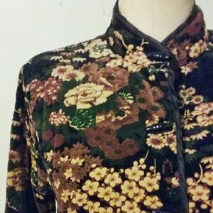 Vintage 70s Quilted FLORAL VELVET Blazer Jacket