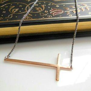 Dyadema  Jewelry - Dyadema Sterling Vermeil Sideways Cross Necklace