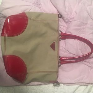 Prada canvas patent leather tote