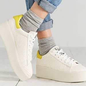Ash Shoes - White snakeskin and yellow ash sneakers platform