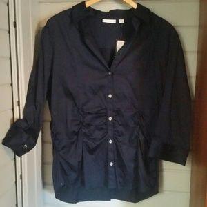 New York & Company Tops - NWT NY&Co navy blue button down career blouse
