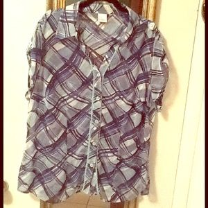 Sheer blue plaid button up blouse top