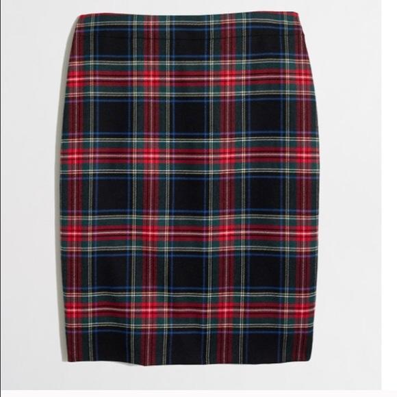 J crew factory plaid tartan skirt