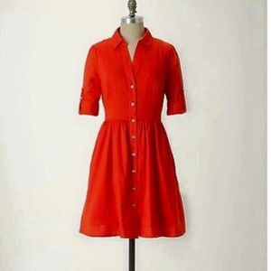 Anthropologie Red Reed Shirtdress