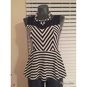 Tops - Black/white stripped peplum top with mesh inset!