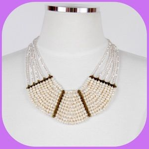 NWT Layers of Pearl & Crystal Bib Necklace
