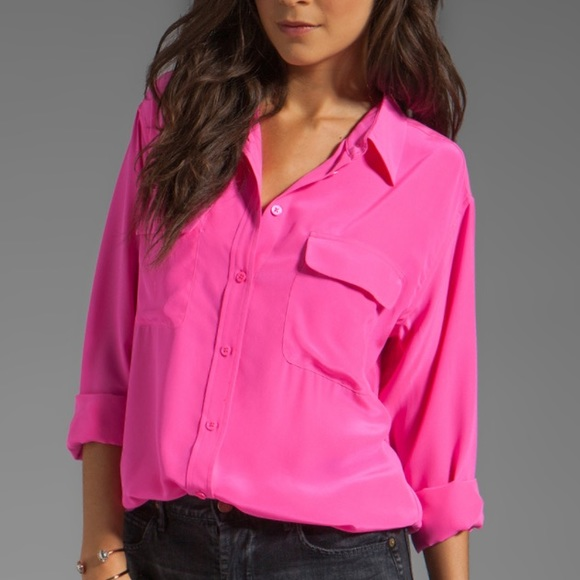 5414939c2baa9 Equipment Tops - EQUIPMENT Silk Blouse in Bright Pink Sz L
