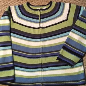 Emma James Sweaters - EMMA JAMES MULTICOLORED STRIPED SWEATER ZIPPER