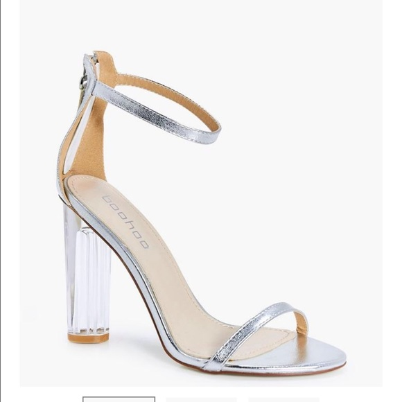 Boohoo Shoes - Metallic silver clear heels!