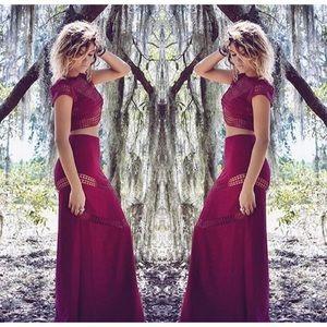 Sabo Skirt Dresses & Skirts - Maroon two piece skirt and top set