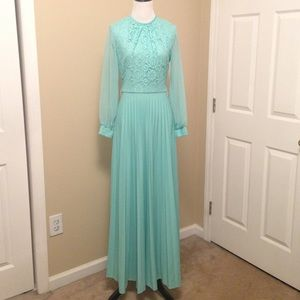 Vintage 1970s Maxi Dress Green Size Small