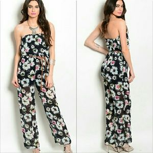 Pants - Floral Strapless jumpsuit