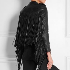 Maje Jackets & Blazers - Authentic MAJE Dark Navy Fringe Leather Jacket