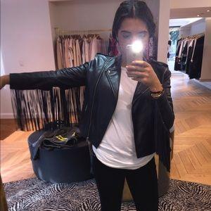 Maje Jackets & Blazers - Authentic MAJE Dark Navy Fringe Leather Jacket