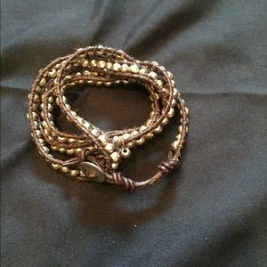 Wrapping Gold and Leather Bracelet