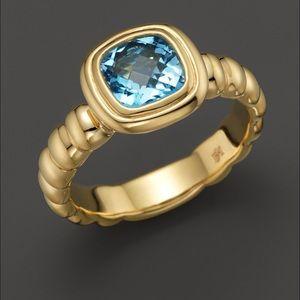 John Hardy Jewelry - John Hardy 18K Gold Blue Topaz Bedeg Square Ring