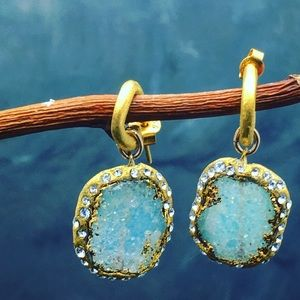 Matana  Jewelry - Host Pick x2 Blue pave Druzy with 24k gold leaf