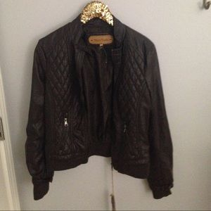 NWT brown faux leather jacket. Size XL