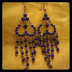 Heart shaped Pave Blu Earrings