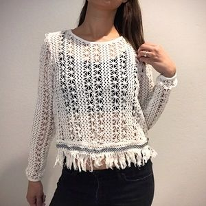 Paper Crane Sweaters - Paper Crane Cropped White Sweater