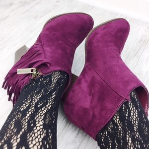 Jennifer's Chic Boutique Shoes - Wine Fringe Booties