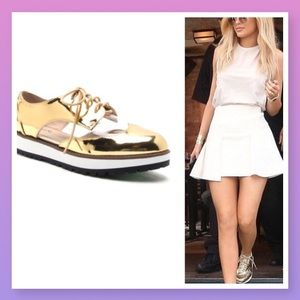 Gold metallic mirror lace up shiny shoe sneakers