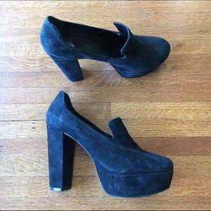 Black DVF Suede Loafer-Style Heels 👠