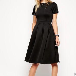 ASOS Black Scuba Midi Dress 0 (UK4)