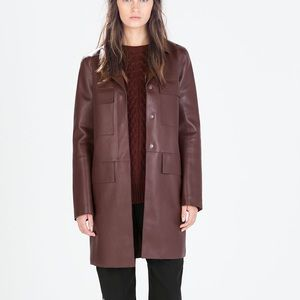 Zara faux leather coat-- size small