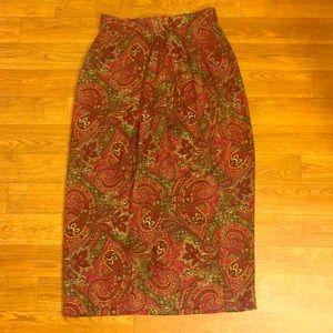 Vintage  Dresses & Skirts - Final Price! Red Paisley Pattern Vintage Skirt