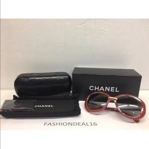 100% Authentic Chanel Sunnies. Red and Silver NWT