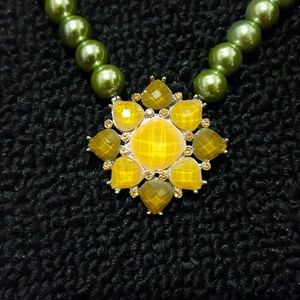 Green & Yellow Pearl Statement Necklace