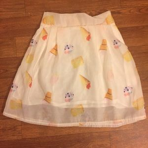 Handmade White Ice Cream A Line Mini Skirt Size 0
