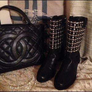 Stuart Weitzman Shoes - WOW Weitzman studded biker boots shoes near Chanel
