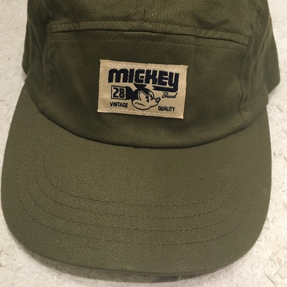 601a05052cf67c Disney Accessories - Olive Green Vintage Mickey Mouse 5-Panel Strapback