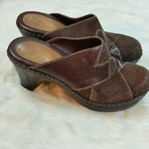 Nurture brown suede and leather patchwork clogs