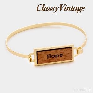 "boutique Jewelry - Gold bracelet with wood message bar "" Hope"""