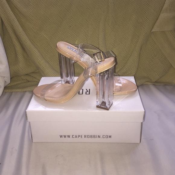 660e8711a28 The Glass Slipper Transparent Heels NWT