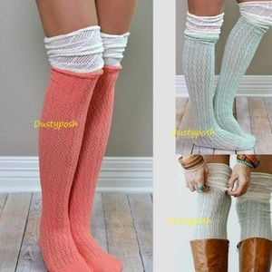 HUE Accessories - 2 Pairs Crochet Over The Knee Socks Thigh High OTK