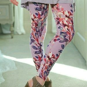 Lilac Floral Brushed Leggings