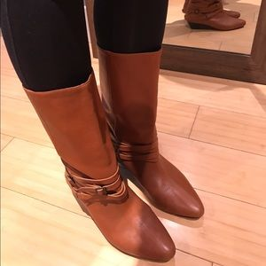 33f2f5dc256bf Frye Shoes | Sunny Mid Calf Leather Strap Boot In Cognac | Poshmark