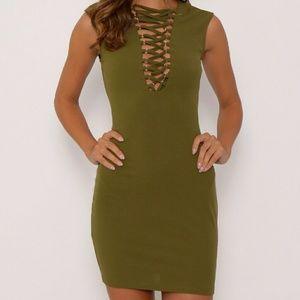 Dresses & Skirts - Khaki Lace Up Mini