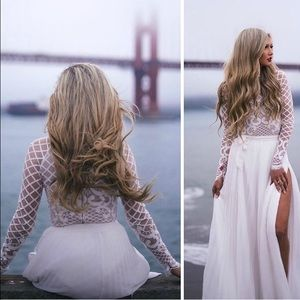 White nude and lace bodysuit, lace dress