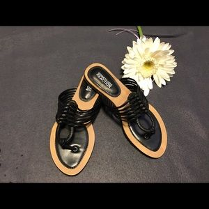 Kenneth Cole Gemalastic Black Leather Sandal