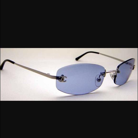 ed386323d9965 CHANEL Accessories - Chanel blue rimless sunglasses CC logos