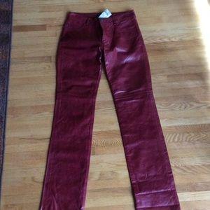 Earl Jeans Pants - Earl leather jeans  Burgundy NWT sz28